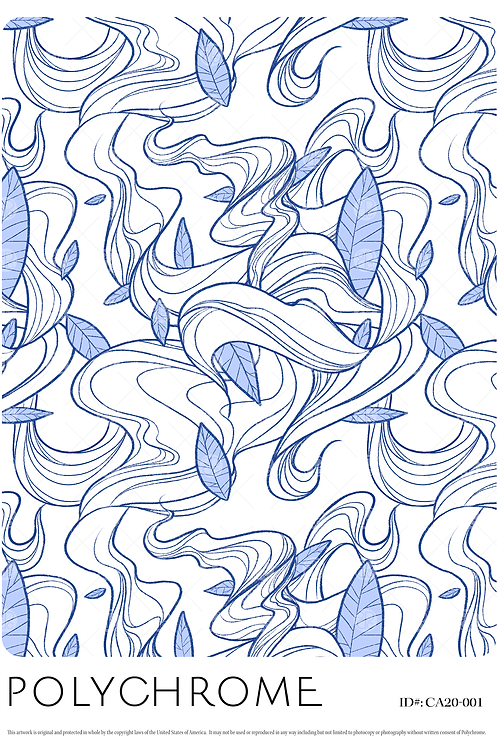 white ground wave and foliage pattern in sketched blue lines