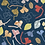 Navy Blue floral leaves print pattern repeat for fashion textiles and apparel