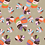 Monster Leaves- allover original print repeat pattern with multicolored tropical foliage motifs on tan ground