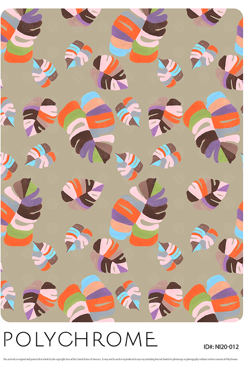 Monster Leaves- allover original print repeat pattern with multicolored tropical foliage motifs.
