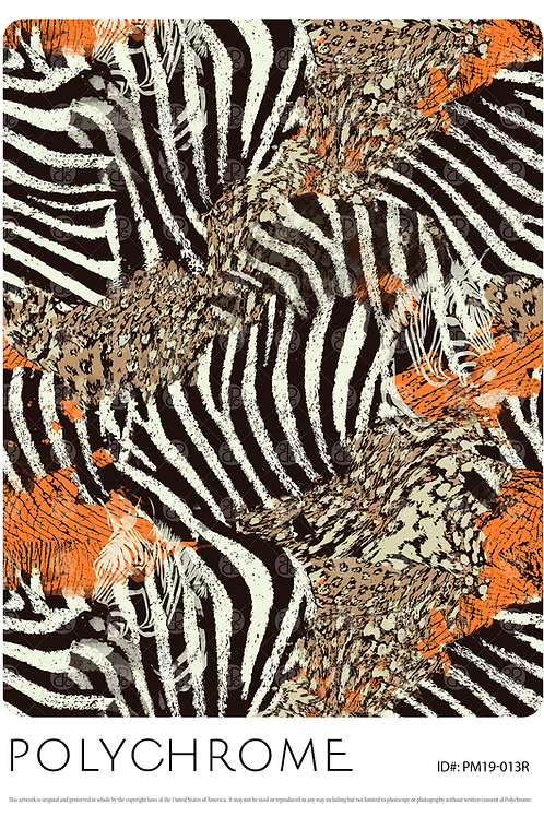 allover original print repeat with mixed animal skin pattern leopard zebra elephant in black and white
