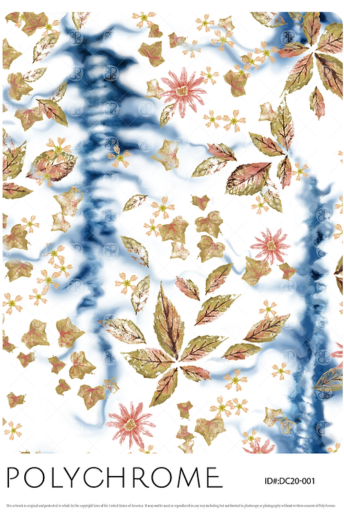 Flowered Shibori - allover original print repeat pattern with floral motifs on an indigo shibori dyed ground.