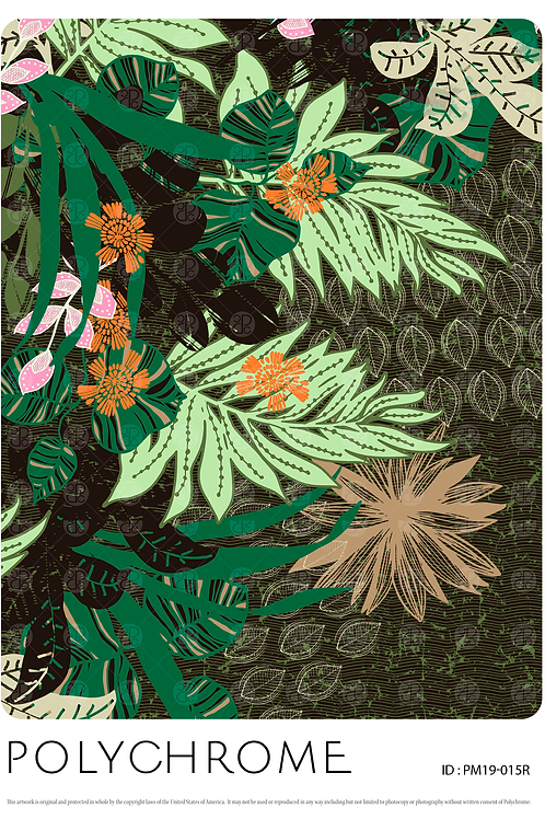 Africa - allover original print repeat pattern with mixed foliage and tropical floral motifs on a black textured ground.