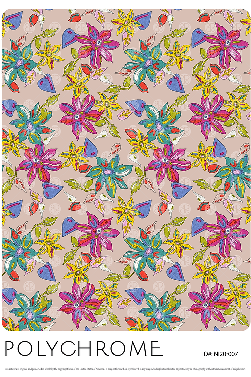 painted floral motifs on a beige ground