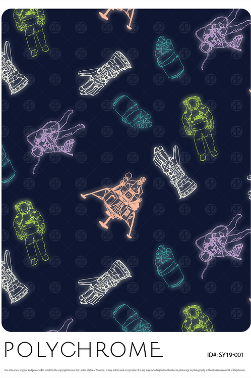 allover novelty print with outer space motifs for fashion textiles on Navy Blue ground