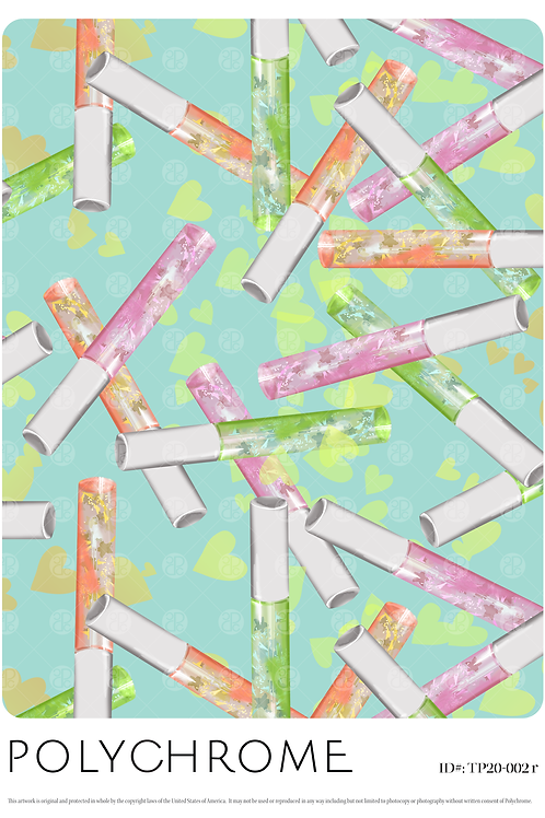 novelty repeat print pattern with lip gloss motifs pale aqua background