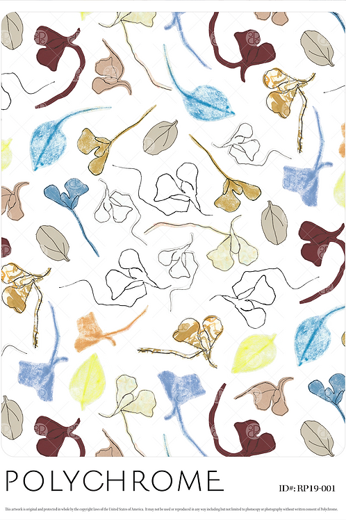 White ground floral leaves print pattern repeat for fashion textiles and apparel