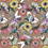 Allover repeat botanical floral on beige ground with gradient flowers