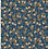 allover repeat print pattern with walnuts and leaves on a teal background