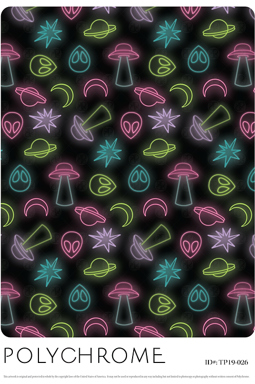 Black ground print pattern repeat with UFO and alien motifs