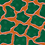 Giraffe pattern in green and orange for fashion textiles