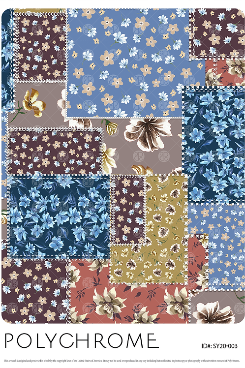 patchwork of flowered patterns in a seamless repeat for printed fashion textiles