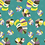 Monster Leaves- allover original print repeat pattern with multicolored tropical foliage motifs on green ground