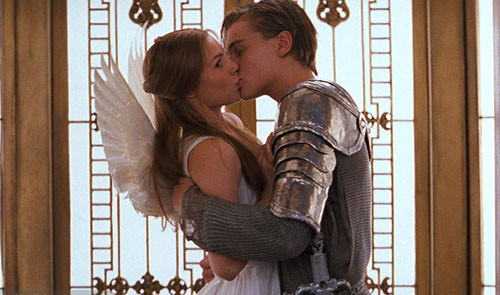 Romeo and Juliet pictured as an angel and her knight in shining armour