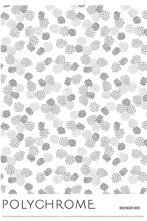 white ground spotted dot pattern in greys and black