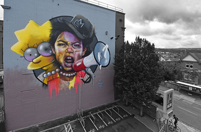 The simpsons, nomad clan,  upfest, lisa simpson graffiti, #bemorelisa, lisa simpson, street art, the simpsons graffiti, street art bristol,