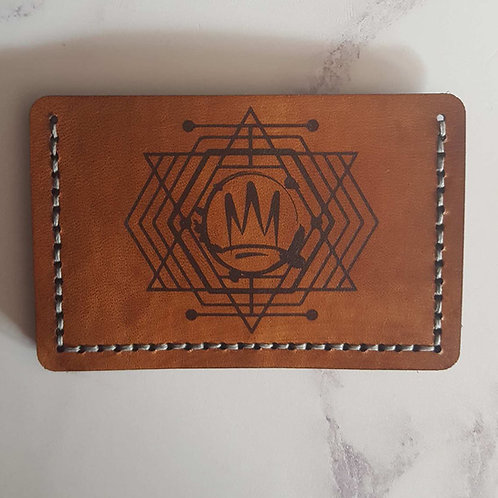 'Athena Crown' Engraved Leather Card Holder