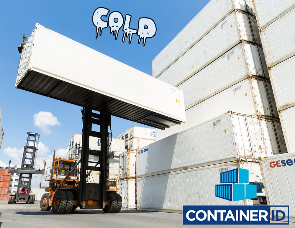 White refigirater container, reefer for storage. lifted by a forklift at containerID depot Antwerp