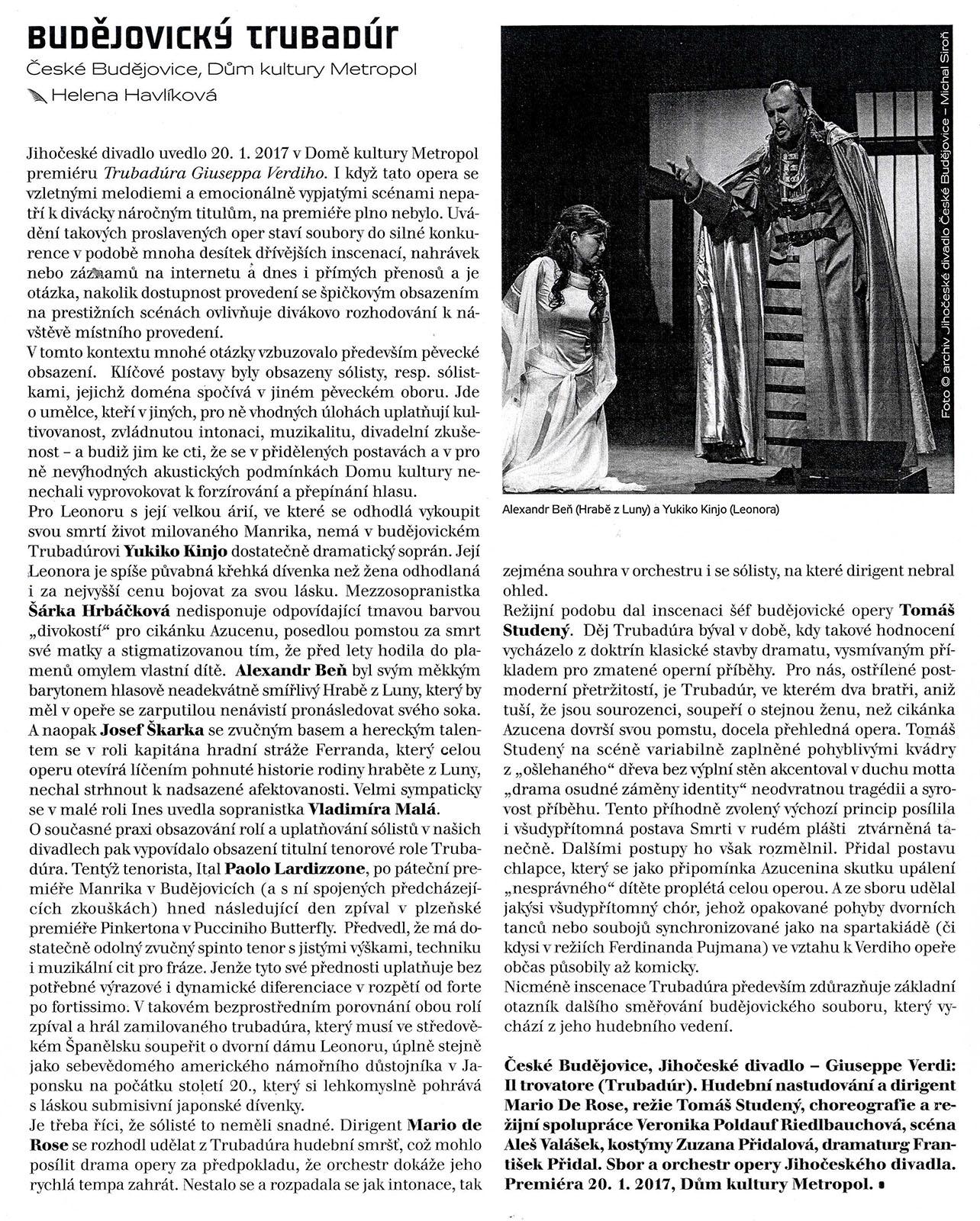 """""""Il trovatore"""" Jihočeské divadlo"""