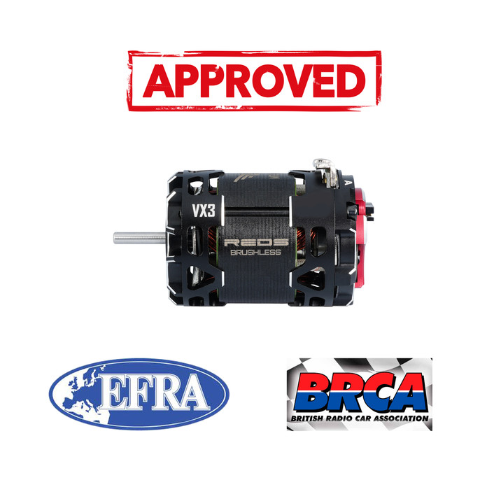 REDS 1/10 VX3 Motors now EFRA and BRCA Approved!