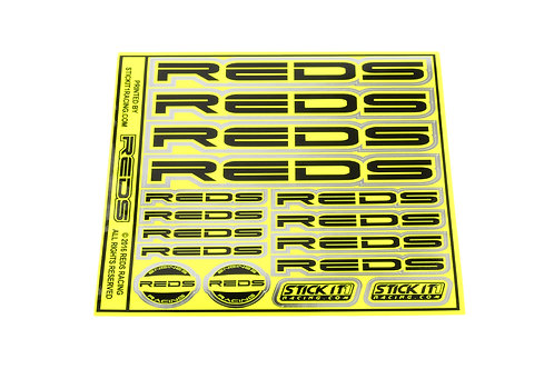 "STICKER SHEET REDS 6x6"", FLO YELLOW / BLACK"