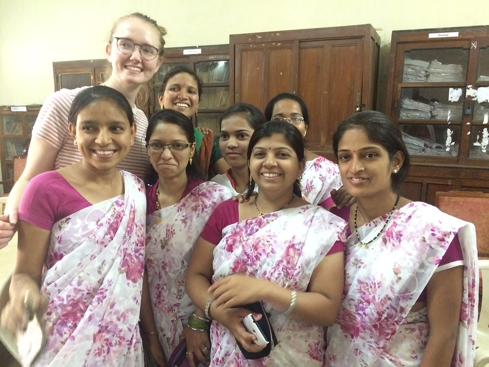 With a group of teachers during the Marathi-learning session.