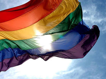 Pride flag waving in wind
