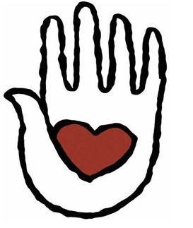 Sketched hand with heart in palm