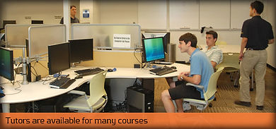 "Students studying with caption ""Tutors are available for many courses"""