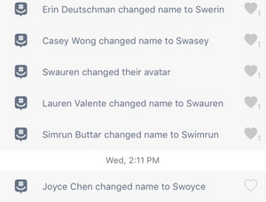 Screenshot of groupchat with everyone changing their names to have a SW-prefix