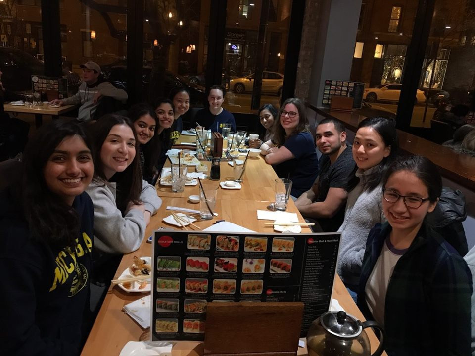 Group picture at sushi dinner