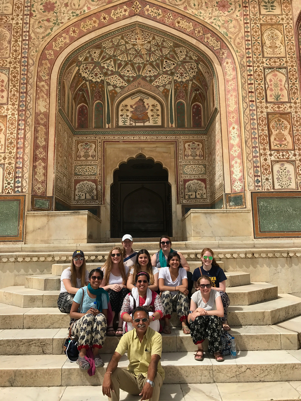 Our group at the Amber Fort with our tour guide Deependra