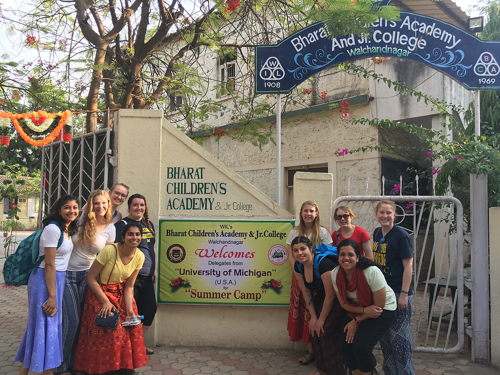 Our group at the front gate of the school where they decorated it beautifully to welcome us