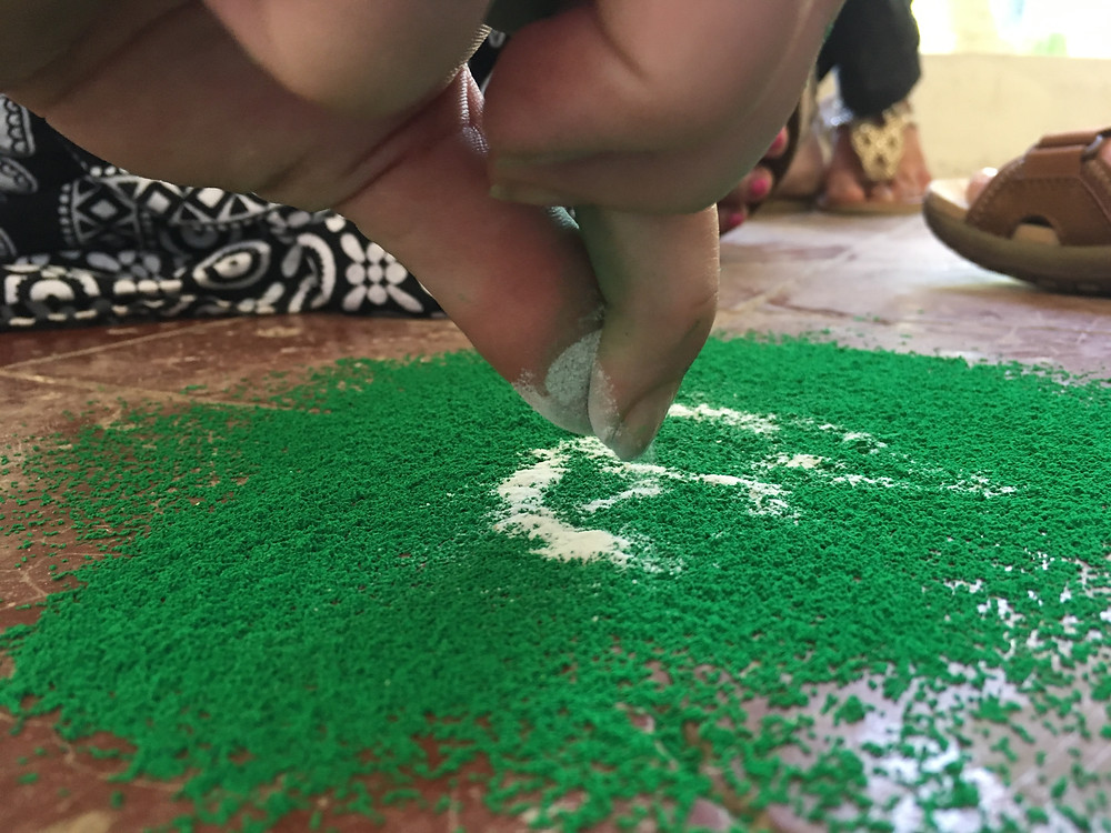 Rangoli is a lot harder than it looks, but the teachers were very patient with us!