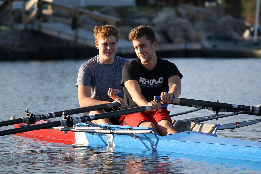 John & Jacob rowing a double on Beebe Cove