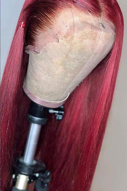180% Straight 99j Lace Front Wig Red Burgundy  Colored Human Hair Wig