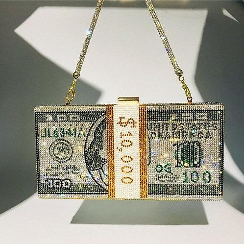 Money Clutch Rhinestone Purse 10000 Dollars Stack of Cash