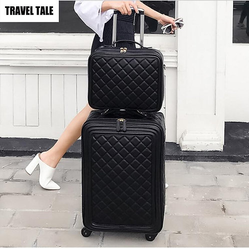 """20""""Inch Women Spinner Leather Retro  Hand Luggage Set"""