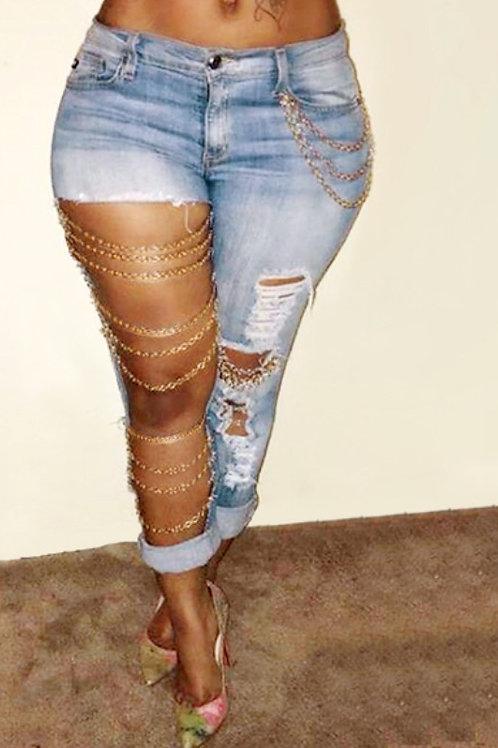 Glam Denim Chain Jeans
