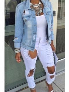 White Destroyed Denim Jeans