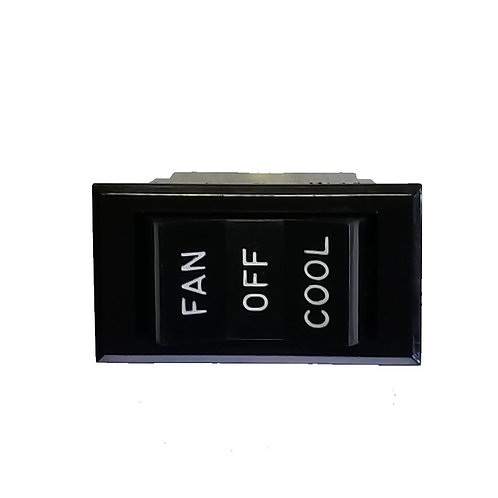 Fan Rocker Switch, 6 Tabs, Fan-Off-Cool, 125VAC 20A 1-1/2HP or 250VAC 20A 2HP