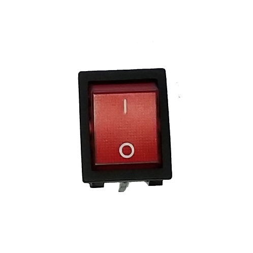 Red Lighted Rocker Switch, 4 Tabs, On-Off, 125VAC 20 Amp, 250VAC 16 Amp