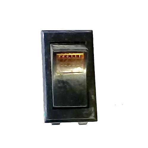 Amber Lighted Rocker Switch, 3 Tabs, On-Off, 125VAC 6A, 250VAC 3A