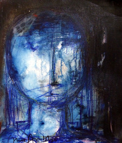 Portrait bleu 55 x46 huile et pastel