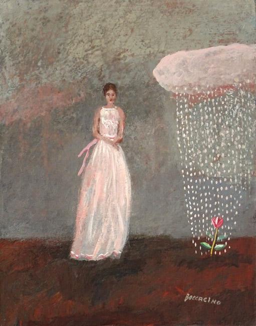 femme et petit nuage rose 30x24