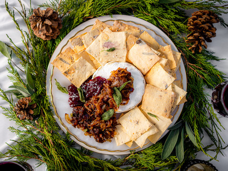November's Pairing with Baked Brie, Caramelized Onions, Dates and Fried Sage Leaves