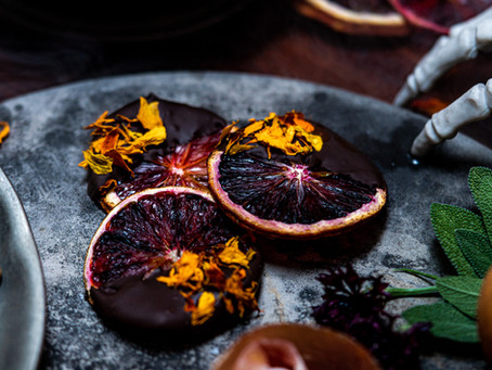 Creepy Blood Orange Crisps Cloaked in Dark Chocolate