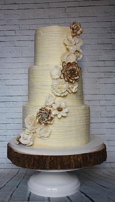 Rustic buttercream wood flowers wedding cake