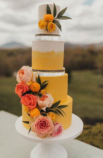 Fresh floral watercolor wedding cake Roanoke VA Goode Virginia Glass Hill Wedding venue wedding cake bakery custom wedding cake