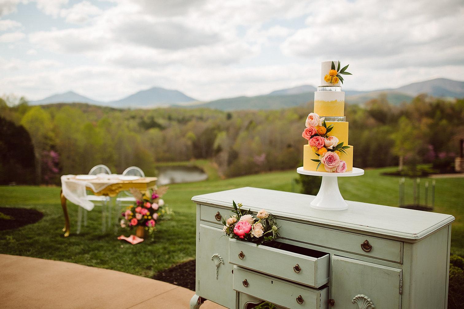 Glass Hill wedding venue Roanoke luxury wedding cake baker bakery custom wedding cake Blue